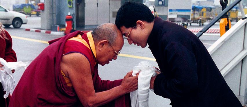 Lopionas Ceču Rinpočė susitinka su Taje Dordže, Jo Šventenybe XVII Karmapa